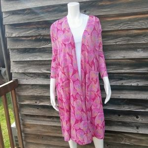 Lularoe bright pink pasley duster.  Size Small